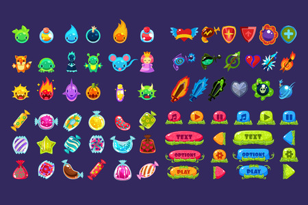 Collection of colorful user interface assets for mobile apps or video games, funny creatures, animals, sweets, weapon, buttons vector Illustration, web design