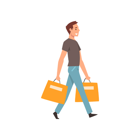 Young man walking with shopping bags, guy purchasing of goods or gifts vector Illustration isolated on a white background.