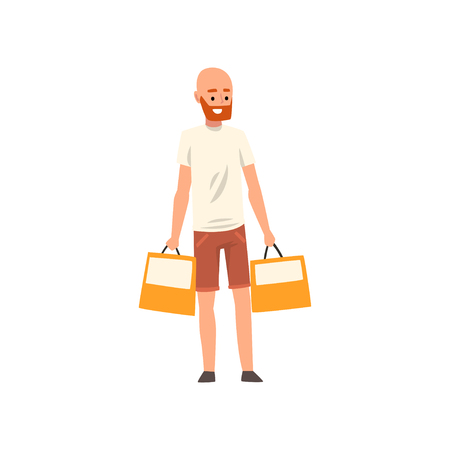 Bald bearded man standing with shopping bags, guy purchasing of goods or gifts vector Illustration isolated on a white background. Ilustração Vetorial