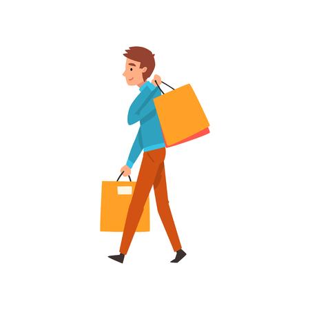 Young cheerful man with shopping bags, guy enjoying shopping and purchasing of goods or gifts vector Illustration isolated on a white background.