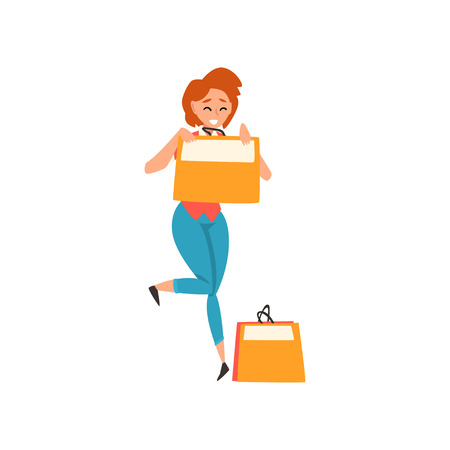 Smiling young woman with short red hair enjoying shopping, girl purchasing of goods and gifts vector Illustration isolated on a white background.