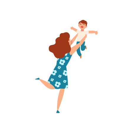 Mother throwing her son up and catching him, young woman playing with her kid, motherhood, parenting concept vector Illustration isolated on a white background. Illusztráció