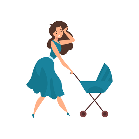 Beautiful young brunette woman in blue dress walking with her newborn baby in a pram, parenting concept vector Illustration isolated on a white background. Çizim