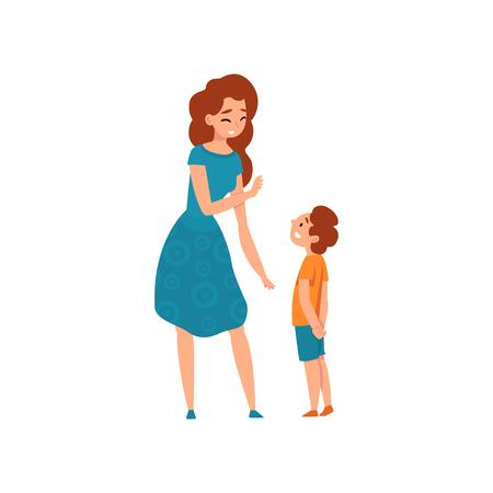 Moeder praten met haar zoon, moeder met een goede tijd met haar kind, moederschap, ouderschap concept vector illustratie geïsoleerd op een witte achtergrond.
