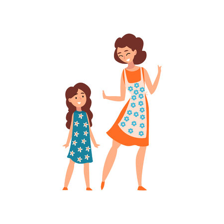 Mother and her daughter, mom having a good time with her kid, motherhood, parenting concept vector Illustration isolated on a white background.