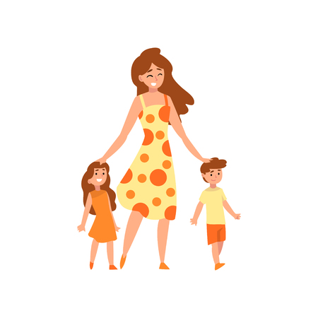 Happy mother walking with her son and daughter, mom having a good time with her kids, happy family, parenting concept vector Illustration isolated on a white background.