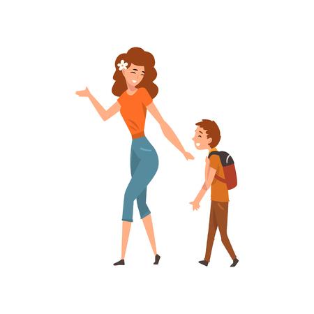 Mutter im Gespräch mit ihrem Sohn, der mit Rucksack spazieren geht, Mutter, die eine gute Zeit mit ihrem Kind, Mutterschaft, Erziehungskonzeptvektor Illustration hat, die auf einem weißen Hintergrund lokalisiert wird.
