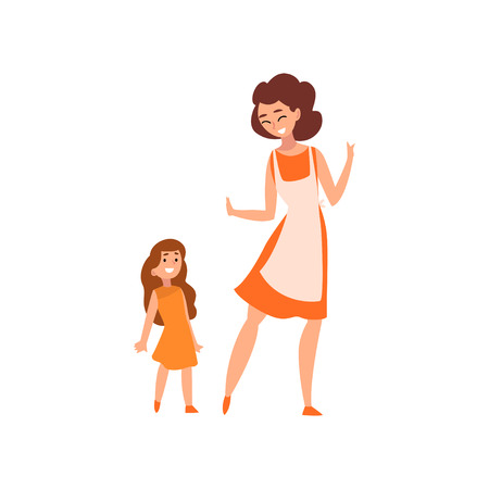 Smiling mother and her little daughter, mother having a good time with her kid, happy family, parenting concept vector Illustration isolated on a white background.
