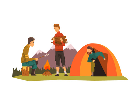 People camping, tourists sitting near bonfire, roasting marshmallows, outdoor adventures travel, backpacking trip or expedition vector Illustration isolated on a white background.