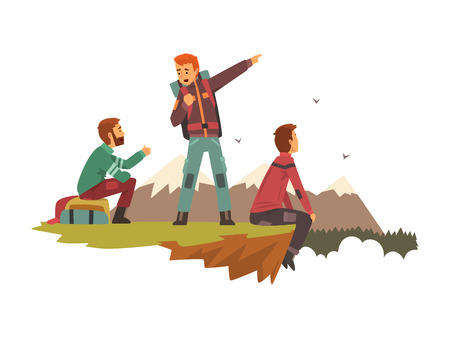 People resting on top of the mountain, men travelling together, tourists hiking in mountains, backpacking trip or expedition vector Illustration isolated on a white background.