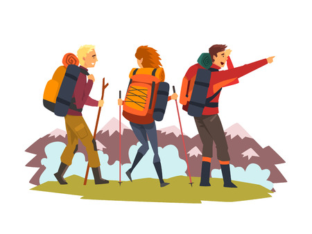 Men and woman travelling together, tourists hiking in mountains, summer adventure and exploration vector Illustration isolated on a white background. Stock Illustratie