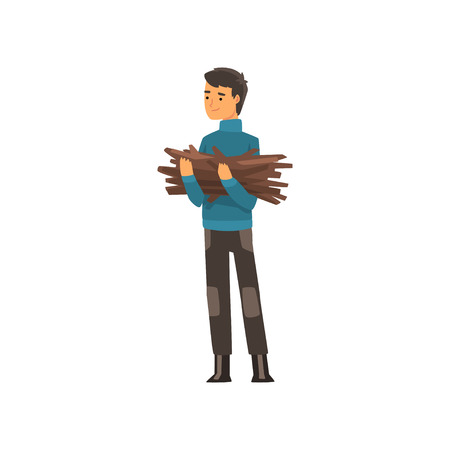 Man with a bundle of firewood, camping, outdoor adventures travel, backpacking trip or expedition vector Illustration isolated on a white background.