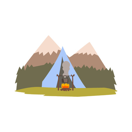 Summer landscape with mountains, forest and tent, camping, traveling, outdoor adventures vector Illustration isolated on a white background.
