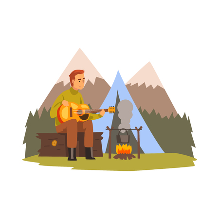Young man playing guitar, summer mountain landscape, hiking adventure travel, camping and relaxing concept, summer vacation vector Illustration isolated on a white background.