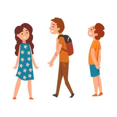 Gelukkige schoolkinderen, twee jongens en meisje, vector illustratie geïsoleerd op een witte achtergrond. Vector Illustratie