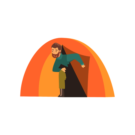 Man looking out of tent, outdoor adventures, travel, camping, backpacking trip or expedition vector Illustration isolated on a white background.