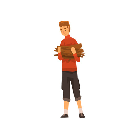 Man carrying a bundle of firewood, outdoor adventures travel, camping trip or expedition vector Illustration isolated on a white background.