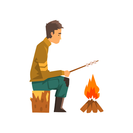 Man roasting marshmallows on campfire, outdoor adventures travel, backpacking trip or expedition vector Illustration isolated on a white background.