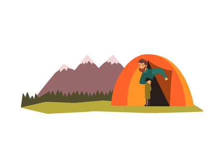 Man looking out of tent, summer landscape with mountains and forest, camping, traveling, outdoor adventures vector Illustration isolated on a white background.