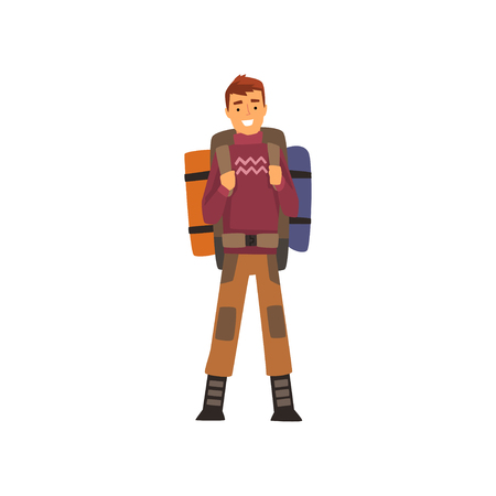 Smiling man with backpack, outdoor adventures, travel, camping, backpacking trip or expedition vector Illustration isolated on a white background.