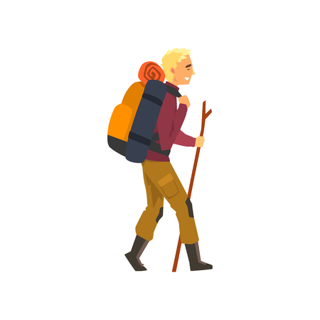 Man walking with backpack and stuff, outdoor adventures, travel, camping, backpacking trip or expedition vector Illustration isolated on a white background.