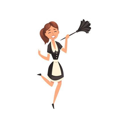 Smiling maid with duster, housemaid character wearing classic uniform with black dress and white apron, cleaning service vector Illustration isolated on a white background. Illustration
