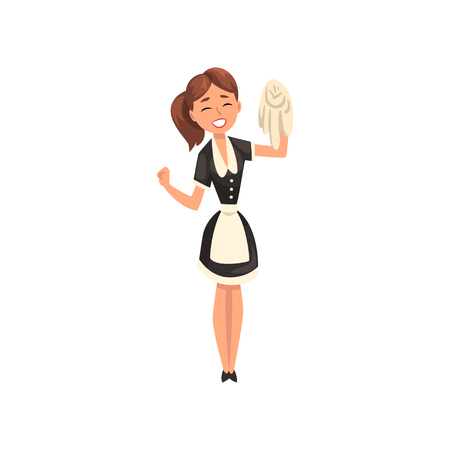 Lächelndes Dienstmädchen mit Teppich, Hausmädchencharakter, der klassische Uniform mit schwarzem Kleid und weißer Schürze trägt, Reinigungsservicevektor Illustration lokalisiert auf einem weißen Hintergrund.