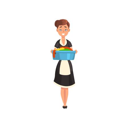 Sirvienta sosteniendo una palangana con ropa limpia mojada, personaje de criada con uniforme clásico con vestido negro y delantal blanco, vector de servicio de limpieza ilustración aislada sobre fondo blanco.