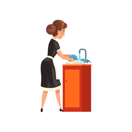 Femme de ménage souriante, laver la vaisselle dans la cuisine, personnage de femme de ménage portant un uniforme classique avec une robe noire et un tablier blanc, vecteur de service de nettoyage Illustration isolé sur fond blanc. Vecteurs