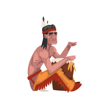 Native American Indian man, tribe member in traditional ethnic clothes and headband with feather vector Illustration isolated on a white background.  イラスト・ベクター素材