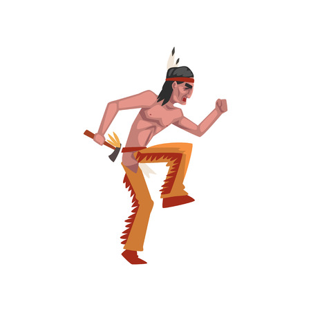 Native American Indian man with tomahawk, tribe member in traditional ethnic clothes and headband with feather vector Illustration isolated on a white background.
