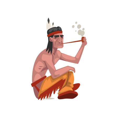 Native American Indian man smoking pipe, tribe member in traditional ethnic clothes and headband with feather vector Illustration isolated on a white background.
