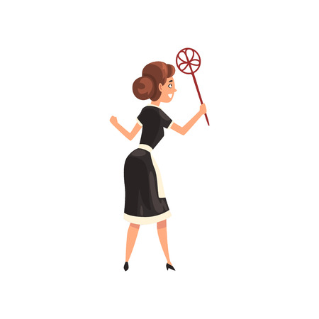 Maid with duster, housemaid character wearing classic uniform with black dress and white apron, back view, cleaning service vector Illustration isolated on a white background.