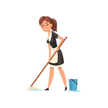Lächelndes Dienstmädchen, das den Boden wischt, Hausmädchencharakter, der klassische Uniform mit schwarzem Kleid und weißer Schürze trägt, Reinigungsservicevektor Illustration lokalisiert auf einem weißen Hintergrund. Vektorgrafik