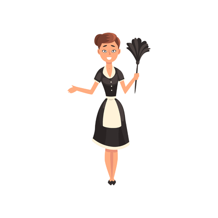 Maid wearing uniform with duster, housemaid character wearing classic uniform with black dress and white apron, cleaning service vector Illustration isolated on a white background. Illustration