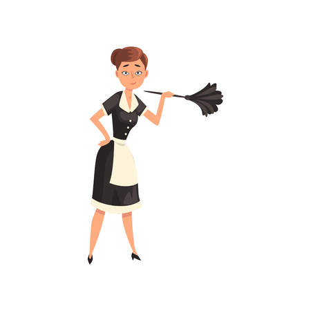 Maid holding a feather duster, housemaid character wearing classic uniform with black dress and white apron, cleaning service vector Illustration isolated on a white background.