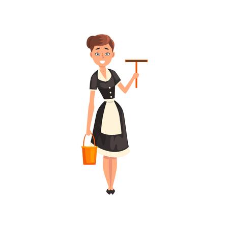 Sirvienta sonriente sosteniendo una escobilla de goma y un cubo, personaje de criada con uniforme clásico con vestido negro y delantal blanco, vector de servicio de limpieza ilustración