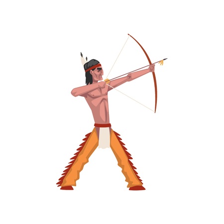 Native American Indian man shooting a bow, tribe member in traditional ethnic clothes and headband with feather vector Illustration isolated on a white background.