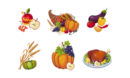 Autumn symbols, collection of Thanksgiving day holiday traditional elements vector Illustration isolated on a white background.