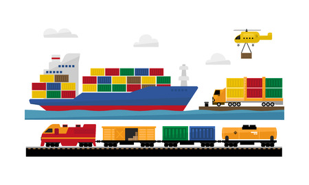 Freight transportation by train ship, helicopter, delivery service vector Illustration isolated on a white background. Illustration