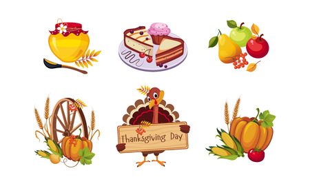 Thanksgiving day design elements, autumn symbols vector Illustration isolated on a white background. 向量圖像