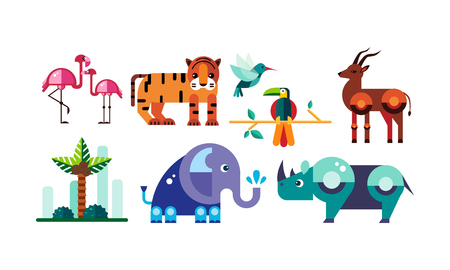 Cute polygonal African animals set, flamingo, tiger, antelope, parrot, elephant, rhino vector Illustration on a white background Illustration