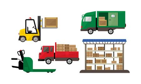 Logistique et transport, entrepôt et expédition, livraison de fret, vecteur de stockage Illustration isolé sur fond blanc.