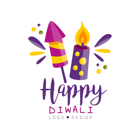 Happy Diwali logo, Hindu festival of lights label, poster, invitation, flyer, greeting card template vector Illustration