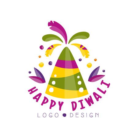 Happy Diwali logo design, festival of lights colorful label, poster, invitation, flyer, greeting card template vector Illustration