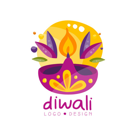 Happy Diwali logo design, festival of lights label with burning candle, poster, invitation, flyer, greeting card template vector Illustration