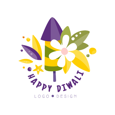 Happy Diwali logo design, Hindu festival label, poster, invitation, flyer, greeting card template hand drawn vector Illustration