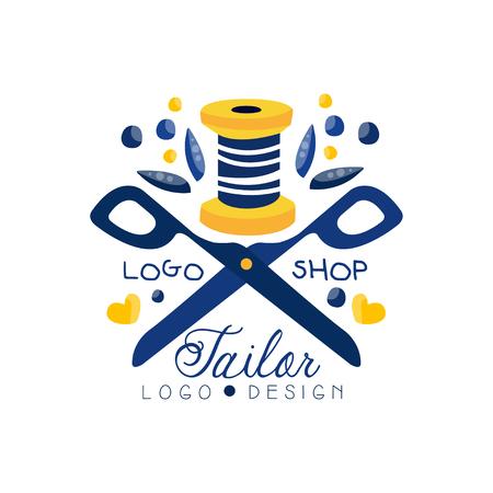 Tailor shop logo design, sewing company, fashion designer emblem, dress boutique vector Illustration