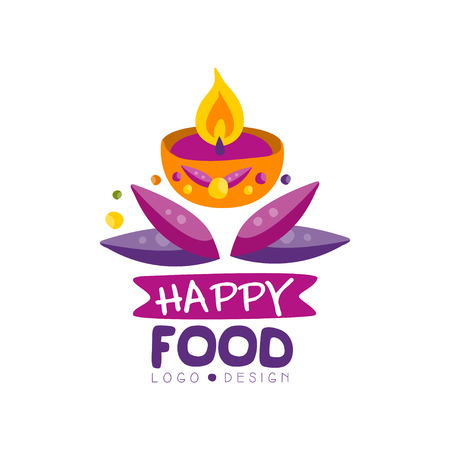 Happy food logo design for poster, invitation, flyer, greeting card hand drawn vector Illustration Illustration