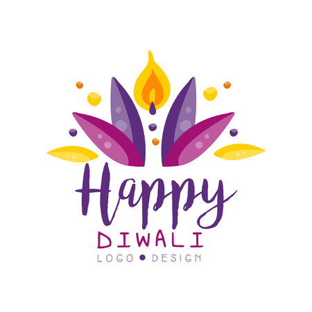 Happy Diwali logo design template, Hindu festival label, poster, invitation, flyer, greeting card template hand drawn vector Illustration Illustration